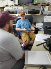 Grant at the radio