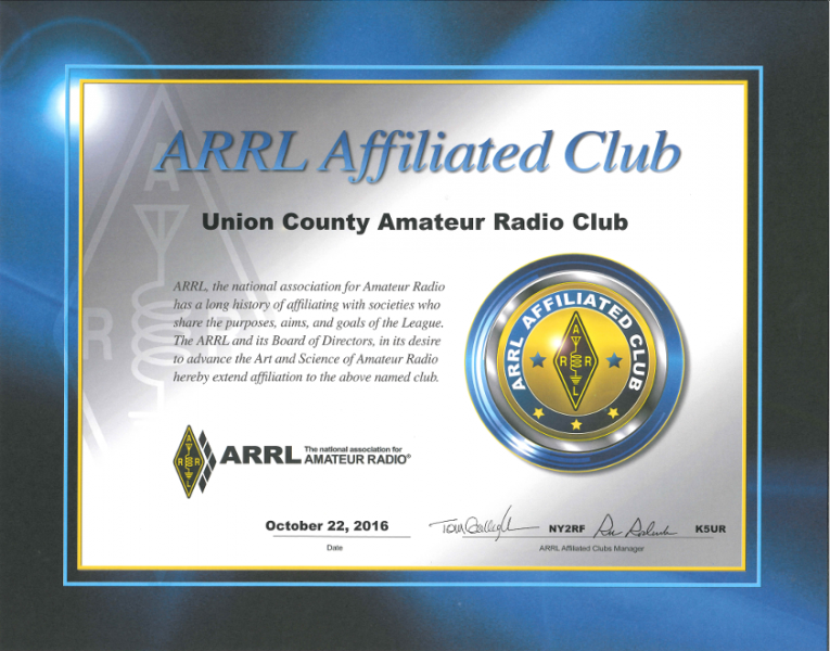 ARRL Affiliated Club Certificate
